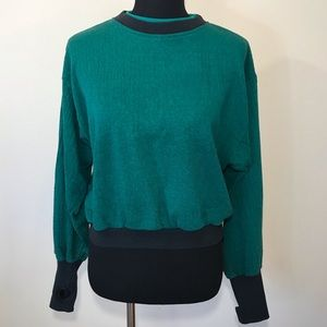 Vintage Swatch Cropped Sweatshirt Green Banded S
